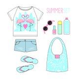 Illustrazione di modo Attrezzatura di estate Insieme moderno di disposizione del piano dell'abbigliamento della donna Fotografia Stock