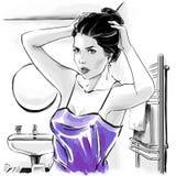 Illustrazione di modo, ritratto della donna illustrazione vettoriale