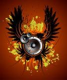 Illustrazione di musica di vettore con l'ala e la macchia Immagine Stock