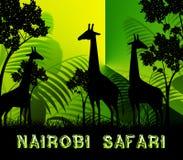 Illustrazione di Nairobi Safari Shows Wildlife Reserve 3d royalty illustrazione gratis