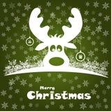 Illustrazione di Natale con i cervi divertenti Immagini Stock
