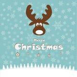Illustrazione di Natale con i cervi divertenti Fotografia Stock