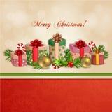 Illustrazione di Natale con i contenitori di regalo. Fotografia Stock Libera da Diritti