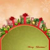 Illustrazione di Natale con i contenitori di regalo. Fotografie Stock Libere da Diritti