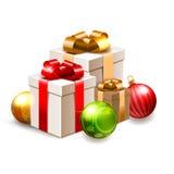Illustrazione di Natale con i contenitori di regalo e le bagattelle isolati su bianco Fotografia Stock Libera da Diritti