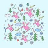 Illustrazione di natale con il Babbo Natale Immagine Stock
