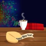 Illustrazione di Natale con il biscotto di fortuna con la congratulazione sulla tavola di legno immagine stock libera da diritti