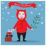 Illustrazione di Natale con il maiale ed il regalo divertenti di Natale fotografia stock