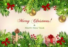 Illustrazione di Natale con il ramo dell'albero di Natale Fotografia Stock