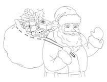 Illustrazione di Natale con il sacco di trasporto di Santa Claus in pieno dei regali, in bianco e nero Fotografia Stock Libera da Diritti