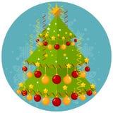 Illustrazione di Natale con l'albero Fotografie Stock Libere da Diritti