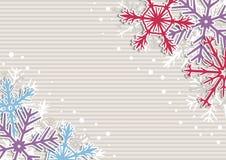 Illustrazione di Natale con le bande ed i fiocchi di neve Fotografie Stock Libere da Diritti