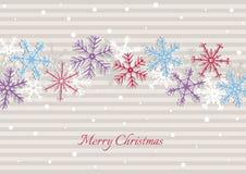 Illustrazione di Natale con le bande ed i fiocchi di neve Immagine Stock Libera da Diritti