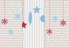 Illustrazione di Natale con le bande ed i fiocchi di neve Fotografia Stock Libera da Diritti