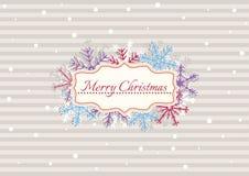 Illustrazione di Natale con le bande ed i fiocchi di neve Fotografie Stock