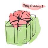 Illustrazione di Natale del contenitore di regalo dell'acquerello Fotografie Stock