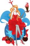 Illustrazione di Natale di modo Siluette delle donne in vestito rosso Immagine Stock