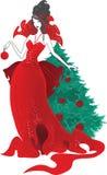 Illustrazione di Natale di modo Siluette delle donne in vestito rosso isolato Fotografie Stock Libere da Diritti