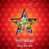 Illustrazione di Natale di vettore con gli elementi astratti di progettazione e di festa della stella sul fondo dei fiocchi di nev Immagini Stock Libere da Diritti