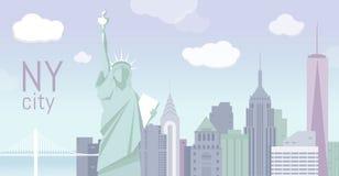Illustrazione di New York, paesaggio piano Immagine Stock Libera da Diritti