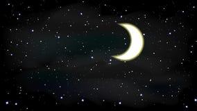 Illustrazione di notte del cielo della luna delle stelle Fotografie Stock Libere da Diritti