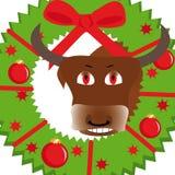 Illustrazione di nuovo anno con il toro royalty illustrazione gratis