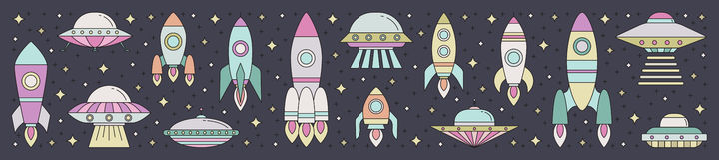 Illustrazione di orizzontale del profilo del trasporto dello spazio Fotografia Stock Libera da Diritti