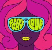 Illustrazione di pace di amore di hippy Immagini Stock Libere da Diritti