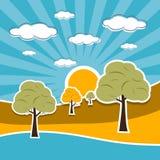 Illustrazione di paesaggio della natura retro con le nuvole, Sun, cielo, alberi Immagini Stock