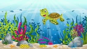 Illustrazione di paesaggio subacqueo Fotografie Stock