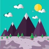 Illustrazione di paesaggio-vettore della collina di inverno Fotografia Stock