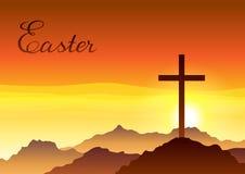 Illustrazione di Pasqua Cartolina d'auguri con l'incrocio ed il cielo royalty illustrazione gratis