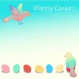 Illustrazione di Pasqua con gli uccelli Immagini Stock