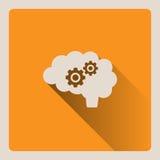 Illustrazione di pensiero del cervello su fondo giallo con ombra Immagini Stock Libere da Diritti
