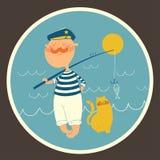 Illustrazione di pesca del marinaio vicino al mare Fotografia Stock