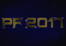 Illustrazione di PF metallico bronzeo 2017 sopra cielo notturno blu Fotografia Stock