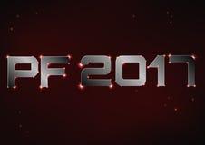 Illustrazione di PF metallico d'acciaio 2017 sopra cielo notturno rosso Fotografie Stock