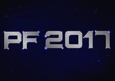 Illustrazione di PF metallico d'argento 2017 sopra cielo notturno blu Fotografia Stock Libera da Diritti