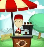 Illustrazione di piccola impresa del fumetto di vettore con il supporto della caffetteria illustrazione vettoriale