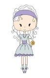 Illustrazione di piccola ragazza sveglia della bambola con il fiore vestito da progettazione Fotografie Stock Libere da Diritti