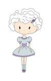 Illustrazione di piccola ragazza sveglia della bambola con il fiore vestito da progettazione Libro di fumetti Immagine Stock Libera da Diritti