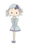 Illustrazione di piccola ragazza sveglia della bambola con il fiore vestito da progettazione Stile comico del giornale Fotografia Stock