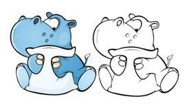 Illustrazione di piccolo personaggio dei cartoni animati sveglio dell'ippopotamo Libro di coloritura profilo royalty illustrazione gratis