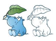 Illustrazione di piccolo personaggio dei cartoni animati sveglio dell'ippopotamo Libro di coloritura profilo illustrazione di stock