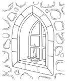 Illustrazione di pietra della finestra Fotografia Stock Libera da Diritti