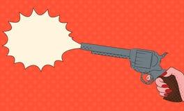 Illustrazione di Pop art con la mano femminile con una pistola Fotografie Stock Libere da Diritti