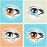 Illustrazione di Pop art dell'occhio umano e delle sferze sul fondo del punto Fotografie Stock Libere da Diritti
