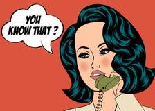 Illustrazione di Pop art della ragazza con il fumetto Immagini Stock