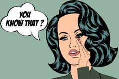Illustrazione di Pop art della ragazza con il fumetto Immagine Stock Libera da Diritti