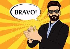 Illustrazione di Pop art di applauso dell'uomo d'affari della barba dei pantaloni a vita bassa Fotografie Stock Libere da Diritti